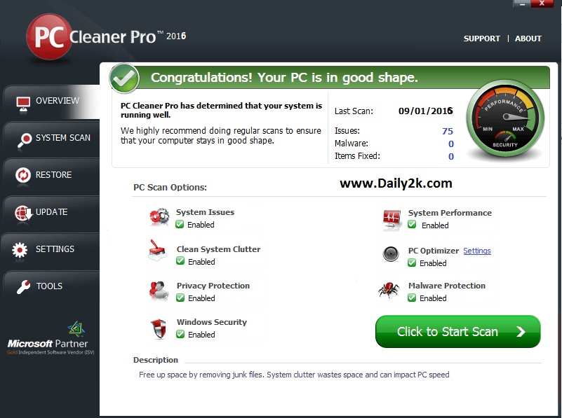 PC Cleaner Pro 2016 License Key -Daily2k