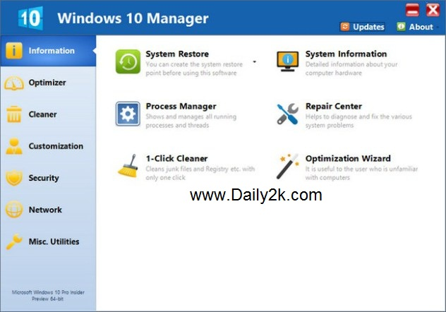 Yamicsoft Windows 10 Manager-Daily2k