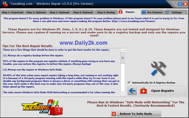 Windows Repair Pro v3.9.0 Crack All In One Latest Version-Daily2k