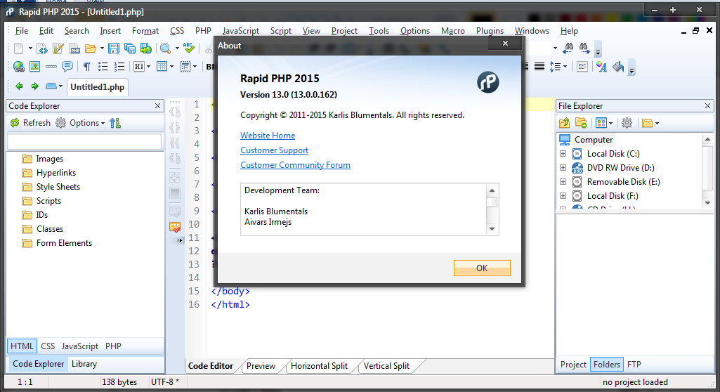 Blumentals Rapid PHP Editor 2015 13.3.0.165 And keygen Free Download